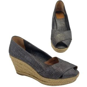 Tory Burch Filipa Espadrille Wedge Peep Toe Shoes